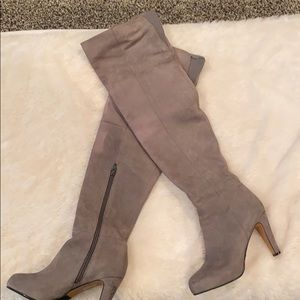 Grey leather over the knee boots